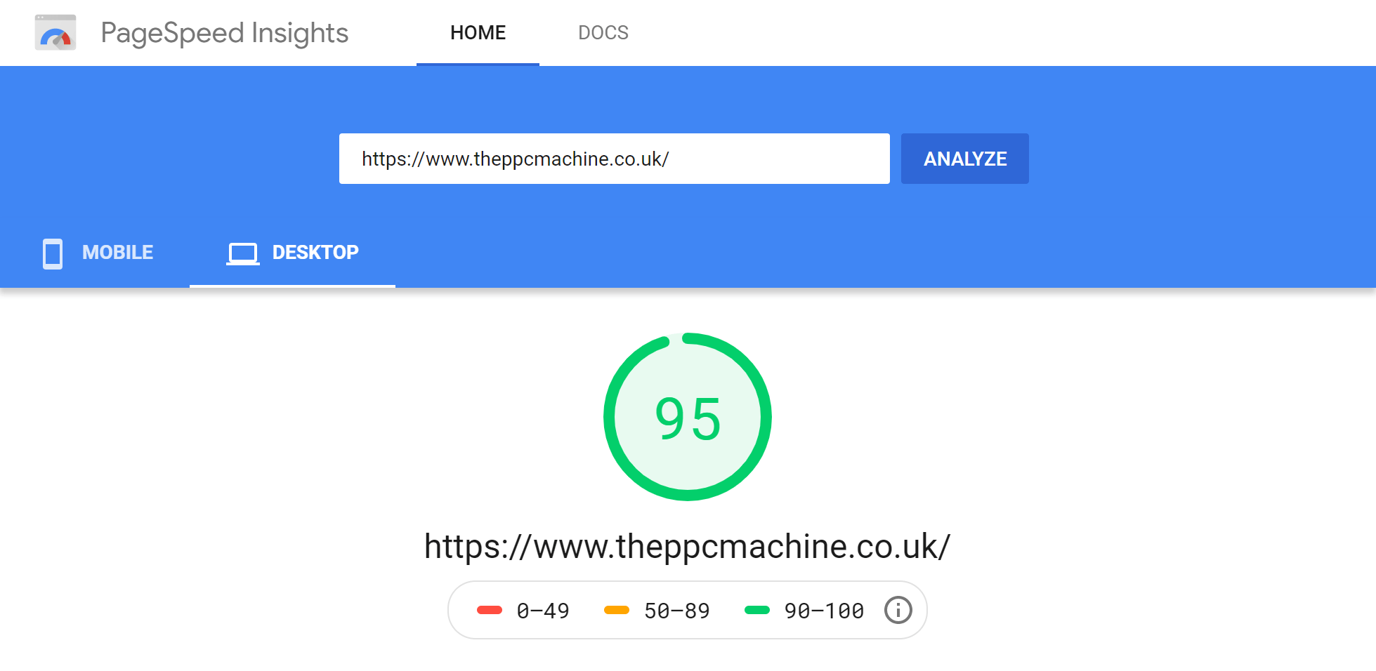 Google PageSpeed Insights desktop report after moving website to SiteGround