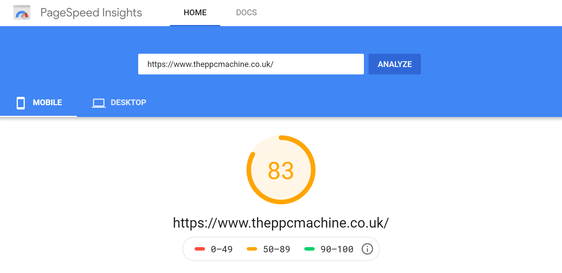 Google PageInsights Speed Test Result - Mobile (SiteGround)
