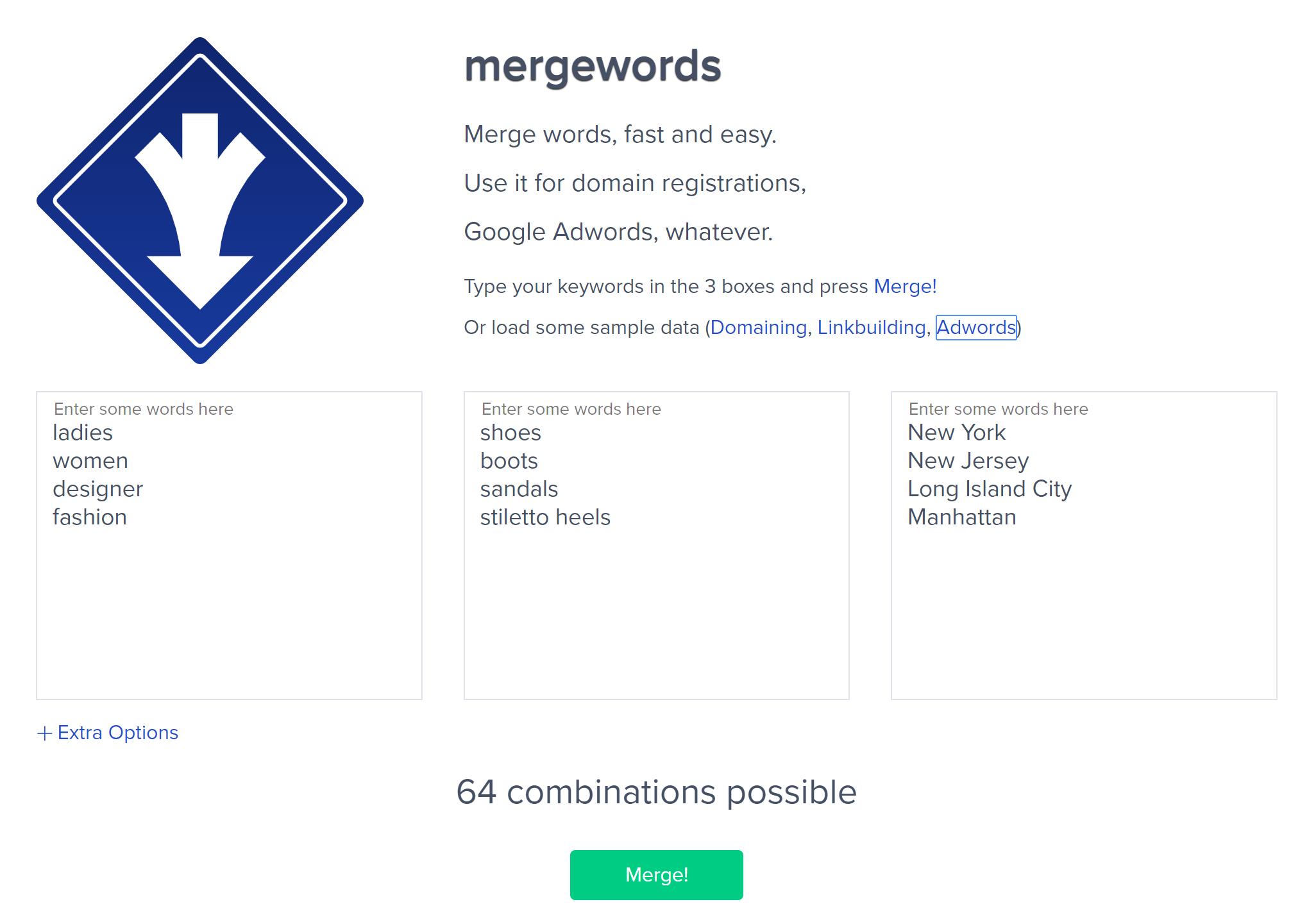 Merge Words being used to create a Google Ads keyword list