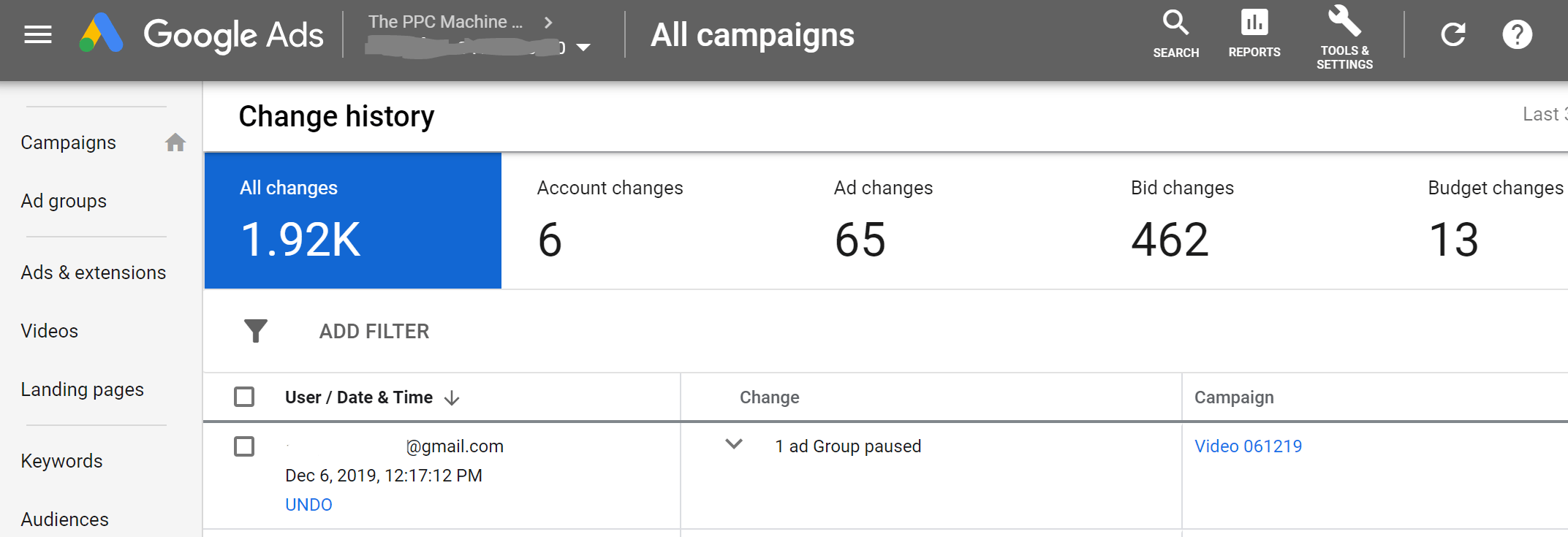 Google Ads contains a comprehensive change history report