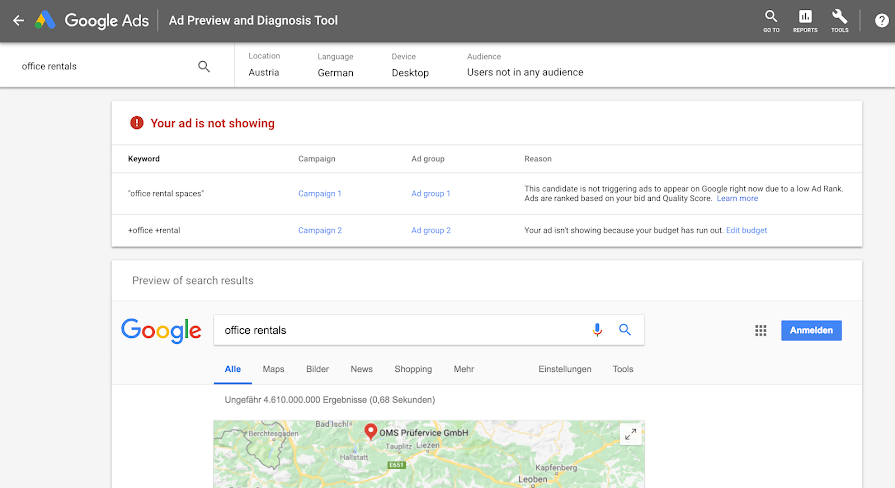 The Google Ads Ad Preview and Diagnosis Tool