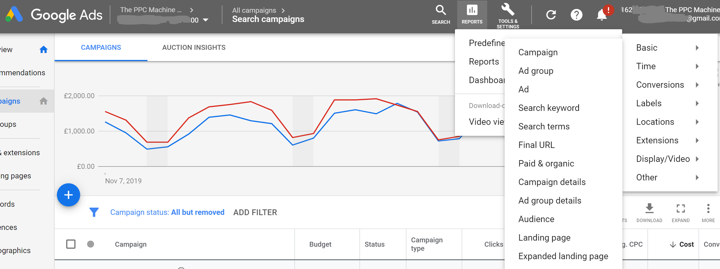 Dimensions are the pre-defined reports that are built into Google Ads