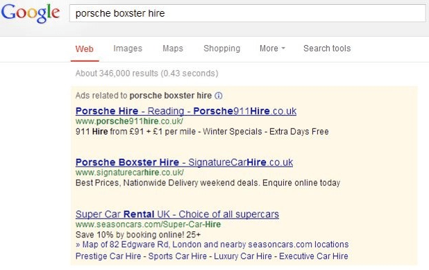 Google paid search results showing three AdWords advertisers that were shown for the search term 'porsche boxster hire'