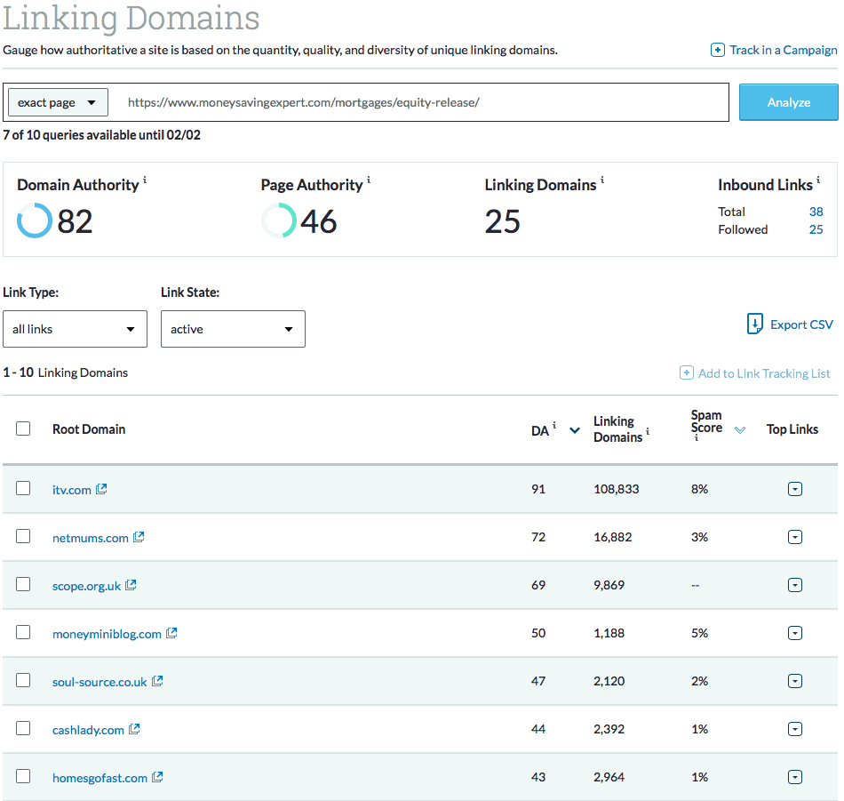 Moz showing the list of linking root domains for a URL