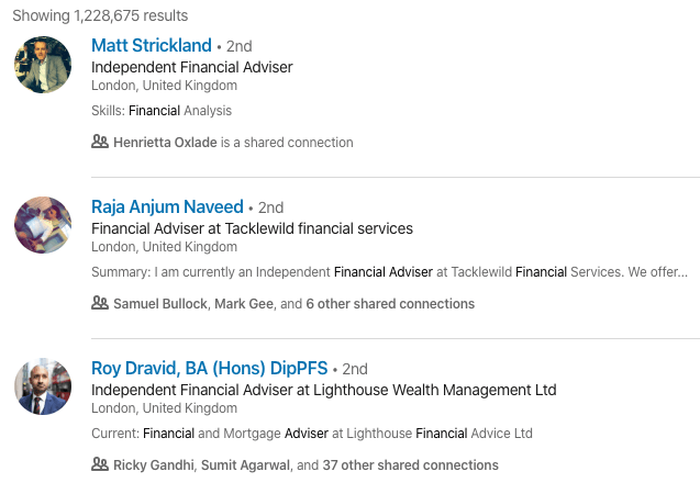 Uninspiring LinkedIn headlines used by independent financial advisers