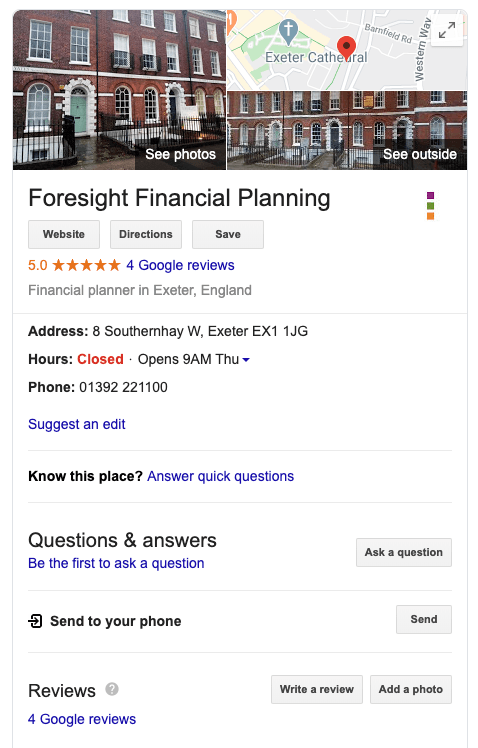 Google My Business listing for Foresight Financial Planning
