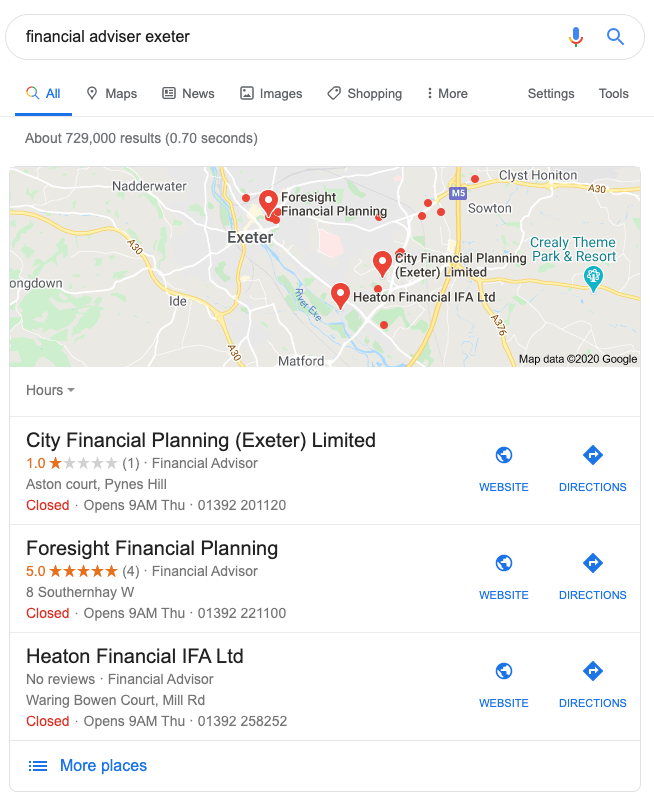 Google local business results for Financial Adviser Exeter