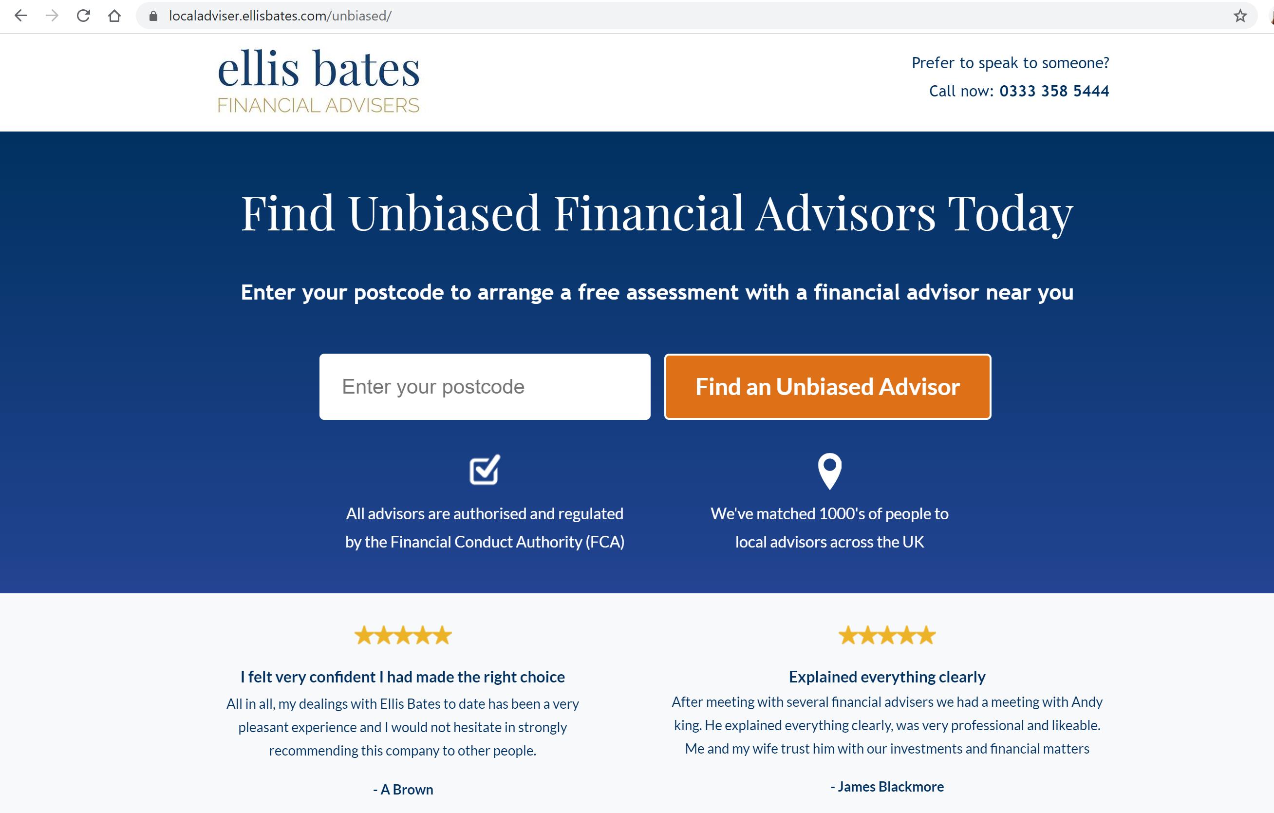 The Ellis Bates website before it was updated